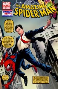 Portada del 573 (homenaje a la de Kirby del Amazing Fantasy 15) con Stephen Colbert en el lugar de Spider-man
